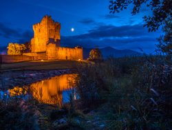 Killarney National Park night view of ross castle