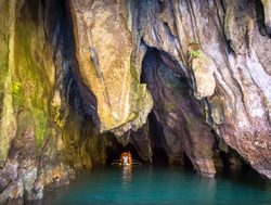 Puerto Princesa Subterranean River boating under the rugged cave
